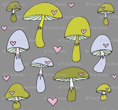 Merry Mushrooms in Green