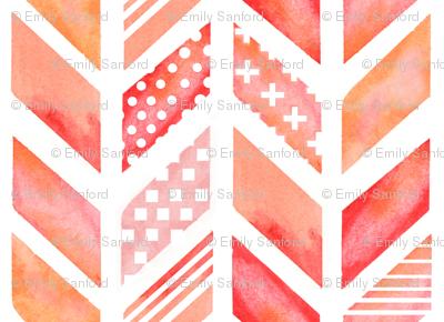 Watercolor Herringbone in Pinks