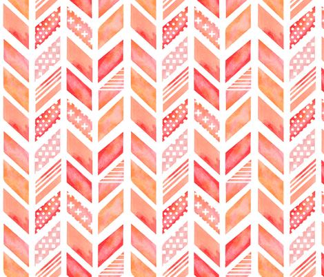 Watercolor Herringbone in Pinks fabric by emilysanford on Spoonflower - custom fabric