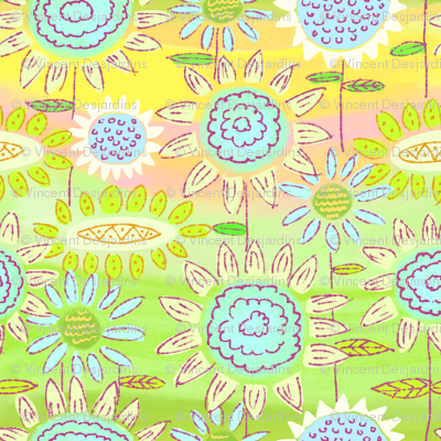 Floral Frolic Green and Yellow