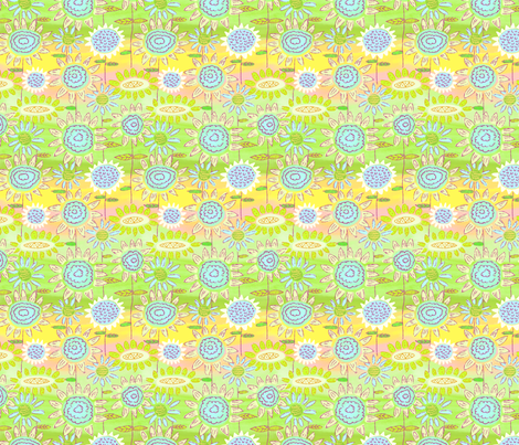 Floral Frolic Green and Yellow fabric by vinpauld on Spoonflower - custom fabric