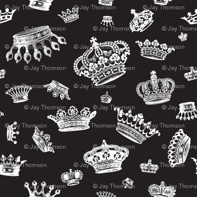 Royal Crowns - White on Black