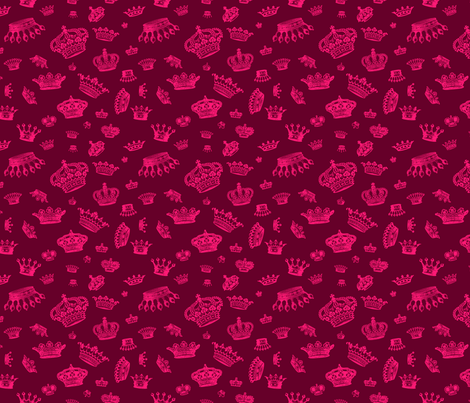Royal Crowns - Pink on Maroon fabric by lavaguy on Spoonflower - custom fabric
