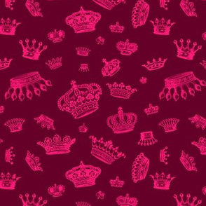 Royal Crowns - Pink on Maroon