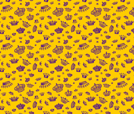 Royal Crowns - Purple on Gold fabric by lavaguy on Spoonflower - custom fabric
