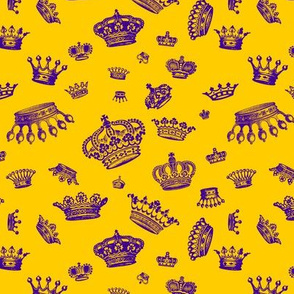 Royal Crowns - Purple on Golden Yellow