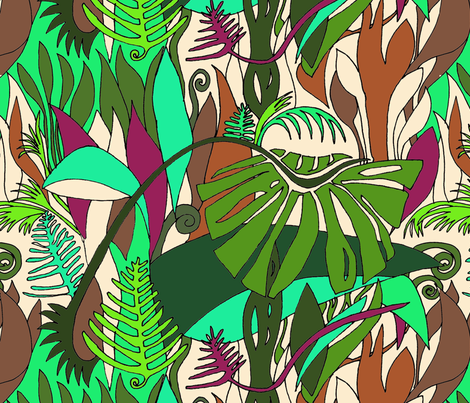 Rainforest on cream fabric by wiccked on Spoonflower - custom fabric