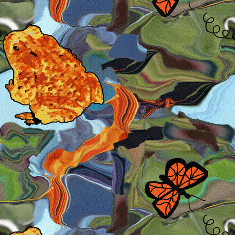 Toad and Butterfly on Marbling fabric by anniedeb on Spoonflower - custom fabric