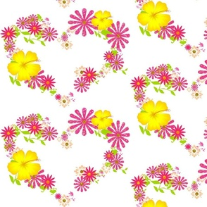 Pink and Yellow Flower Hearts
