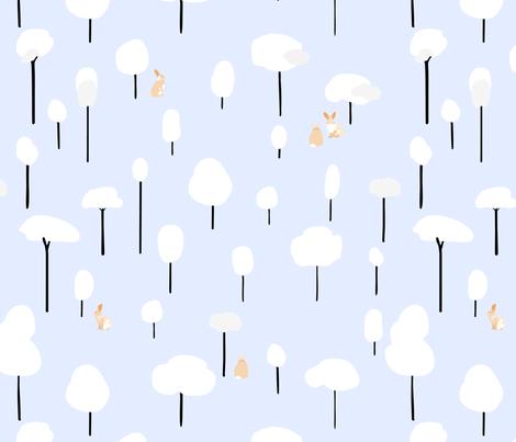 Bunnies_in_a_snowy_forest fabric by pragya_k on Spoonflower - custom fabric