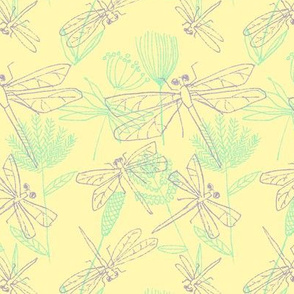 Dragonflies and Plants on Lemon Yellow