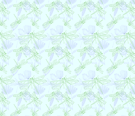 Dragonflies and Plants on Pale Blue fabric by vinpauld on Spoonflower - custom fabric