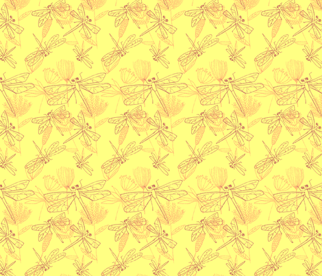 Dragonflies and Plants Yellow and Burgundy fabric by vinpauld on Spoonflower - custom fabric