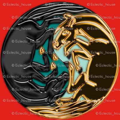 Fake Gold and Jet Yin Yang Horses synergy0003