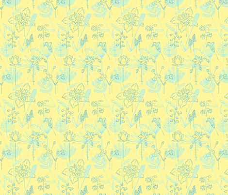 Flowers and Plants Yellow and Blue fabric by vinpauld on Spoonflower - custom fabric
