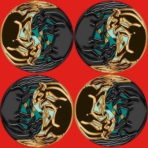 Jet and Fake Gold Yin Yang Horses 2