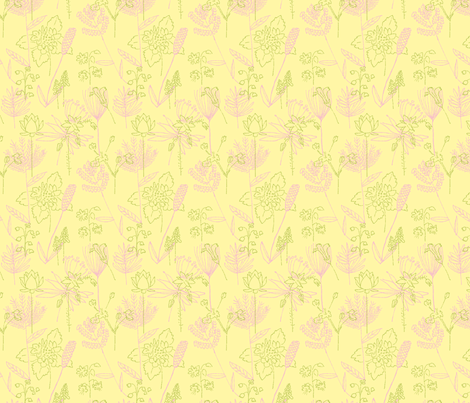 Flowers and Plants Yellow and Fuschia fabric by vinpauld on Spoonflower - custom fabric