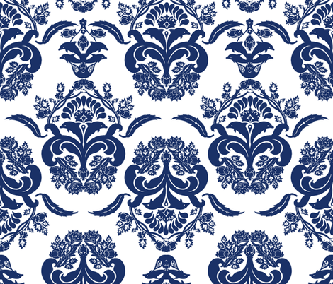 damask dolphin navy fabric by katarina on Spoonflower - custom fabric