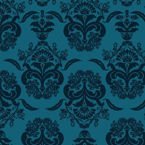 damask dolphin navy blue