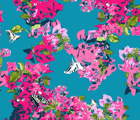 bougainvillea pink blue fabric by katarina on Spoonflower - custom fabric