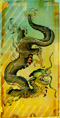 Vintage Dragon postcard remix