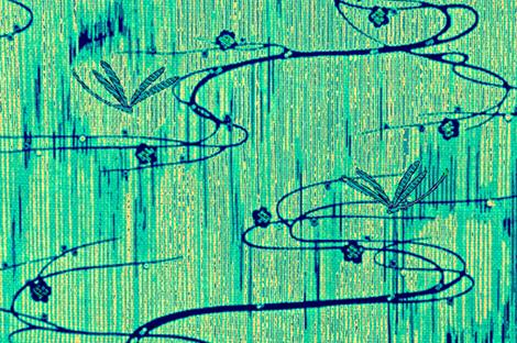 Dragonflies on pond - yellow, aqua fabric by materialsgirl on Spoonflower - custom fabric