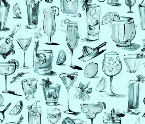 Champange Cocktails fabric by msjordankay on Spoonflower - custom fabric