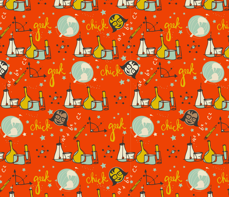 Geek Chicks - Big Science-ed fabric by ceci_bowman on Spoonflower - custom fabric