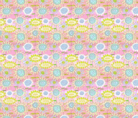 Floral Frolic Pink and Blues fabric by vinpauld on Spoonflower - custom fabric