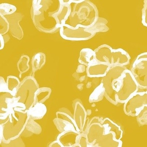 White Floral on Gold