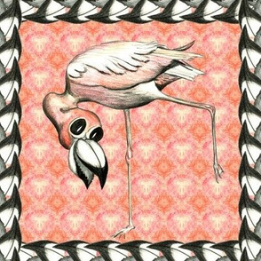 Flamingo on pink in beak border
