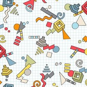 Geek-o-metric (Original) || 80s retro geometric shapes grid graph paper handdrawn Memphis