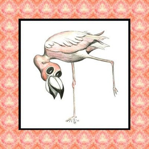 Flamingo in beak border