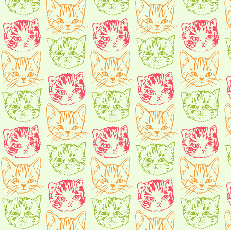 Cat Stack | Color fabric by imaginaryanimal on Spoonflower - custom fabric