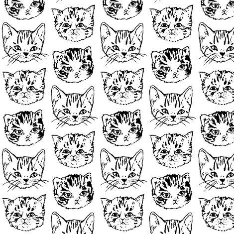 Cat Stack | Black and White fabric by imaginaryanimal on Spoonflower - custom fabric