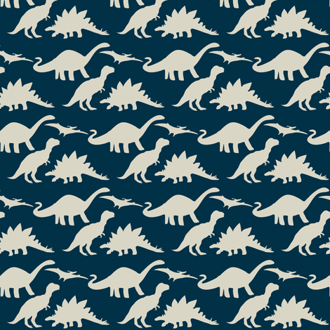 dino friends ©2013 Jill Bull fabric by palmrowprints on Spoonflower - custom fabric