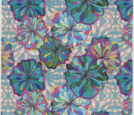 Teal and Green Floral on Ikat Petite