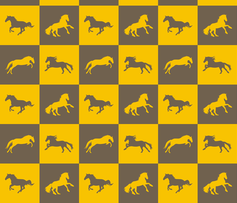 Horse Chess Goldenrod fabric by smuk on Spoonflower - custom fabric