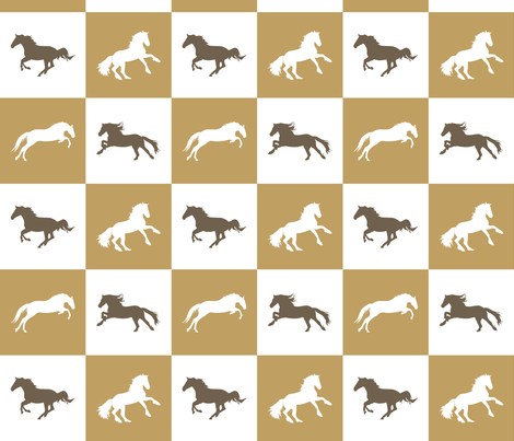 Horse Chess Natural fabric by pennyroyal on Spoonflower - custom fabric