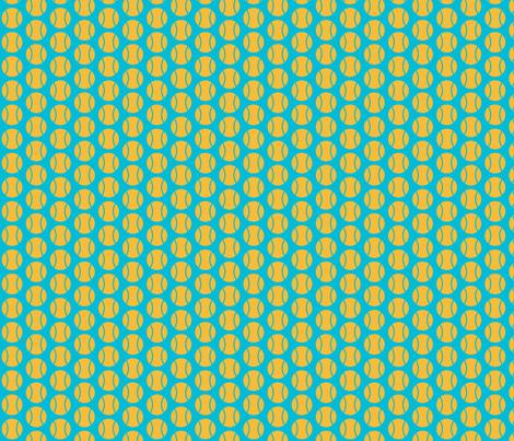 Small Half-Drop Orange/Blue Tennis Balls fabric by audreyclayton on Spoonflower - custom fabric