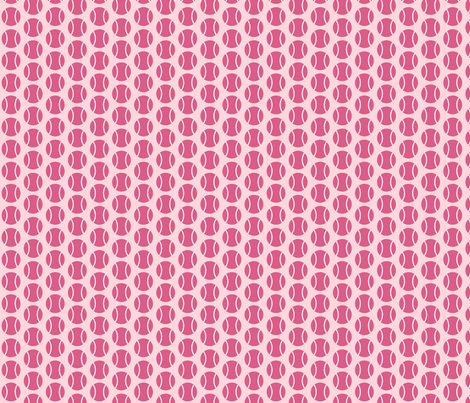 Small Half-Drop Dark Pink Tennis Balls fabric by audreyclayton on Spoonflower - custom fabric