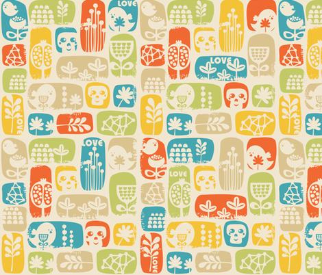 Bird and skulls. fabric by panova on Spoonflower - custom fabric