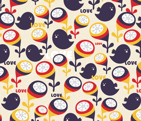 Birds and love. fabric by panova on Spoonflower - custom fabric