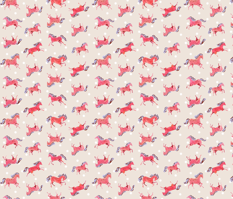 Frisky Horses | Red/Peach fabric by imaginaryanimal on Spoonflower - custom fabric