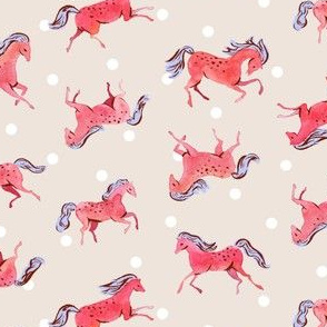 Frisky Horses | Red/Peach
