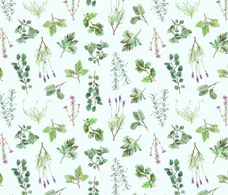 Watercolor Herb Garden fabric by imaginaryanimal on Spoonflower - custom fabric