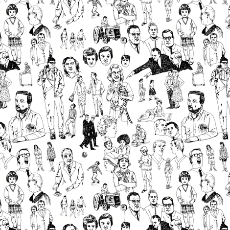 Neighbors in Pen and Ink | Half-Size fabric by imaginaryanimal on Spoonflower - custom fabric