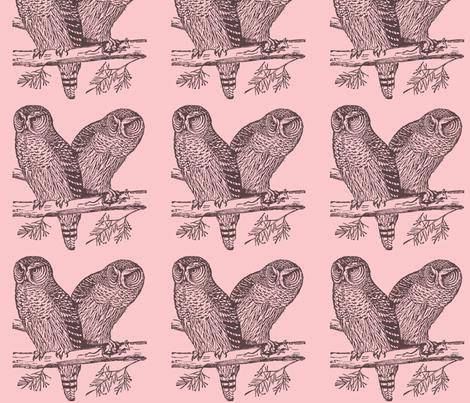 Owls pink fabric by artivity on Spoonflower - custom fabric
