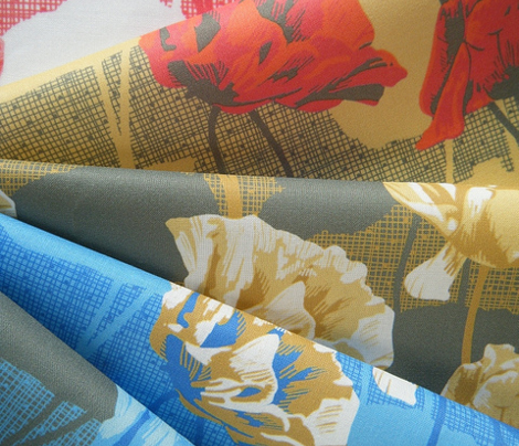 Rimini Poppies - Blue and Camel