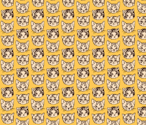 Cute Cats | Orange fabric by imaginaryanimal on Spoonflower - custom fabric